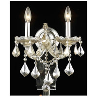 Elegant Lighting Maria Theresa 2 Light Wall Sconce in Golden Teak with Royal Cut Golden Teak Crystal 2800W2GT-GT/RC