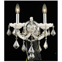 Elegant Lighting Maria Theresa 2 Light Wall Sconce in White with Royal Cut Golden Teak Crystal 2800W2WH-GT/RC