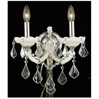 Elegant Lighting Maria Theresa 2 Light Wall Sconce in White with Royal Cut Clear Crystal 2800W2WH/RC