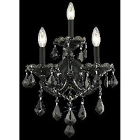 Elegant Lighting Maria Theresa 3 Light Wall Sconce in Black with Royal Cut Jet Black Crystal 2800W3B/RC