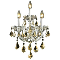 Elegant Lighting Maria Theresa 3 Light Wall Sconce in Chrome with Royal Cut Golden Teak Crystal 2800W3C-GT/RC