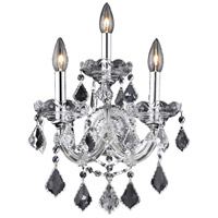 Elegant Lighting Maria Theresa 3 Light Wall Sconce in Chrome with Royal Cut Clear Crystal 2800W3C/RC