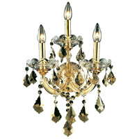 Elegant Lighting Maria Theresa 3 Light Wall Sconce in Gold with Royal Cut Golden Teak Crystal 2800W3G-GT/RC
