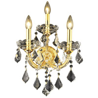 Elegant Lighting Maria Theresa 3 Light Wall Sconce in Gold with Royal Cut Clear Crystal 2800W3G/RC