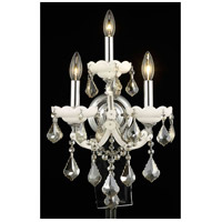 Elegant Lighting Maria Theresa 3 Light Wall Sconce in White with Royal Cut Golden Teak Crystal 2800W3WH-GT/RC