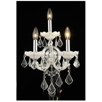 Elegant Lighting Maria Theresa 3 Light Wall Sconce in White with Royal Cut Clear Crystal 2800W3WH/RC