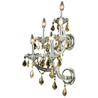 Elegant Lighting Maria Theresa 5 Light Wall Sconce in Chrome with Royal Cut Golden Teak Crystal 2800W5C-GT/RC