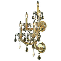 Elegant Lighting Maria Theresa 5 Light Wall Sconce in Gold with Royal Cut Golden Teak Crystal 2800W5G-GT/RC
