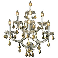 Elegant Lighting Maria Theresa 7 Light Wall Sconce in Chrome with Royal Cut Golden Teak Crystal 2800W7C-GT/RC