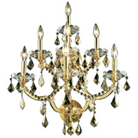 Elegant Lighting Maria Theresa 7 Light Wall Sconce in Gold with Royal Cut Golden Teak Crystal 2800W7G-GT/RC