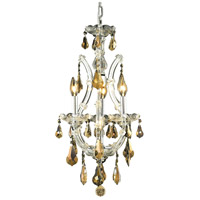 Elegant Lighting Maria Theresa 4 Light Pendant in Chrome with Royal Cut Golden Teak Crystal 2801D12C-GT/RC