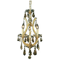 Elegant Lighting Maria Theresa 4 Light Pendant in Gold with Royal Cut Golden Teak Crystal 2801D12G-GT/RC