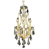 Elegant Lighting Maria Theresa 4 Light Pendant in Gold with Swarovski Strass Clear Crystal 2801D12G/SS