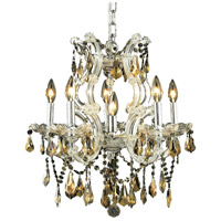 Elegant Lighting Maria Theresa 6 Light Dining Chandelier in Chrome with Royal Cut Golden Teak Crystal 2801D20C-GT/RC