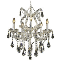 Elegant Lighting Maria Theresa 6 Light Dining Chandelier in Chrome with Royal Cut Clear Crystal 2801D20C/RC