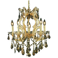 Elegant Lighting Maria Theresa 6 Light Dining Chandelier in Gold with Royal Cut Golden Teak Crystal 2801D20G-GT/RC