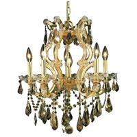 Elegant Lighting 2801D20G-GT/SS Maria Theresa 6 Light 20 inch Gold Dining Chandelier Ceiling Light in Golden Teak Swarovski Strass