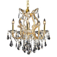 Elegant Lighting Maria Theresa 6 Light Dining Chandelier in Gold with Swarovski Strass Clear Crystal 2801D20G/SS