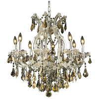 Elegant Lighting Maria Theresa 9 Light Dining Chandelier in Chrome with Royal Cut Golden Teak Crystal 2801D26C-GT/RC