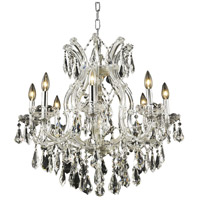 Elegant Lighting Maria Theresa 9 Light Dining Chandelier in Chrome with Royal Cut Clear Crystal 2801D26C/RC