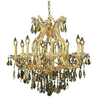 Elegant Lighting Maria Theresa 9 Light Dining Chandelier in Gold with Swarovski Strass Golden Teak Crystal 2801D26G-GT/SS