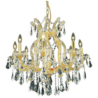 Elegant Lighting Maria Theresa 9 Light Dining Chandelier in Gold with Royal Cut Clear Crystal 2801D26G/RC