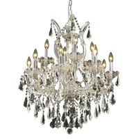 Elegant Lighting 2801D27C/RC Maria Theresa 13 Light 27 inch Chrome Dining Chandelier Ceiling Light in Clear, Royal Cut alternative photo thumbnail