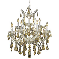 Maria Theresa 13 Light 27 inch Chrome Dining Chandelier Ceiling Light in Golden Teak, Swarovski Strass