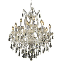 Elegant Lighting Maria Theresa 13 Light Dining Chandelier in Chrome with Royal Cut Clear Crystal 2801D27C/RC