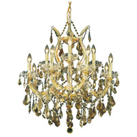 Elegant Lighting Maria Theresa 13 Light Dining Chandelier in Gold with Royal Cut Golden Teak Crystal 2801D27G-GT/RC alternative photo thumbnail