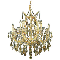 Elegant Lighting Maria Theresa 13 Light Dining Chandelier in Gold with Royal Cut Golden Teak Crystal 2801D27G-GT/RC