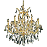 Elegant Lighting Maria Theresa 13 Light Dining Chandelier in Gold with Royal Cut Clear Crystal 2801D27G/RC