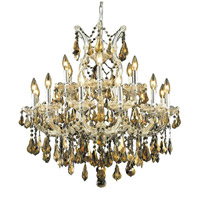 Elegant Lighting Maria Theresa 19 Light Dining Chandelier in Chrome with Royal Cut Golden Teak Crystal 2801D30C-GT/RC alternative photo thumbnail