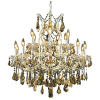 Elegant Lighting Maria Theresa 19 Light Dining Chandelier in Chrome with Royal Cut Golden Teak Crystal 2801D30C-GT/RC
