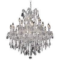 Elegant Lighting Maria Theresa 19 Light Dining Chandelier in Chrome with Royal Cut Clear Crystal 2801D30C/RC