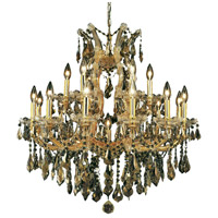 Elegant Lighting Maria Theresa 19 Light Dining Chandelier in Gold with Swarovski Strass Golden Teak Crystal 2801D30G-GT/SS