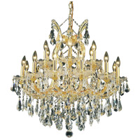 Elegant Lighting Maria Theresa 19 Light Dining Chandelier in Gold with Swarovski Strass Clear Crystal 2801D30G/SS