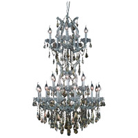 Maria Theresa 25 Light 30 inch Silver and Clear Mirror Dining Chandelier Ceiling Light in Golden Teak, Royal Cut