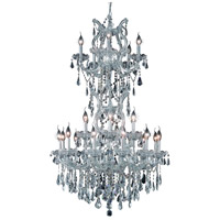 Elegant Lighting Maria Theresa 25 Light Dining Chandelier in Silver and Clear Mirror with Royal Cut Clear Crystal 2801D30SC/RC