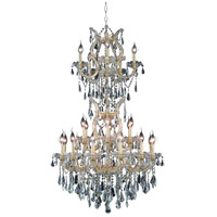 Elegant Lighting Maria Theresa 25 Light Dining Chandelier in Gold with Swarovski Strass Clear Crystal 2801D30SG/SS