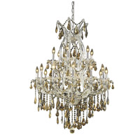 Elegant Lighting Maria Theresa 19 Light Dining Chandelier in Chrome with Royal Cut Golden Teak Crystal 2801D32C-GT/RC photo thumbnail