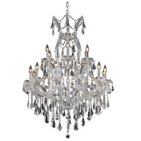 Elegant Lighting Maria Theresa 19 Light Dining Chandelier in Chrome with Royal Cut Clear Crystal 2801D32C/RC