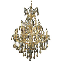 Elegant Lighting Maria Theresa 19 Light Dining Chandelier in Gold with Swarovski Strass Golden Teak Crystal 2801D32G-GT/SS
