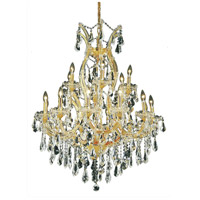 Elegant Lighting Maria Theresa 19 Light Dining Chandelier in Gold with Royal Cut Clear Crystal 2801D32G/RC