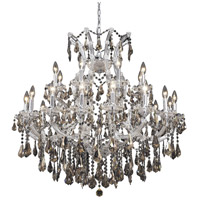 Elegant Lighting Maria Theresa 24 Light Dining Chandelier in Chrome with Royal Cut Golden Teak Crystal 2801D36C-GT/RC