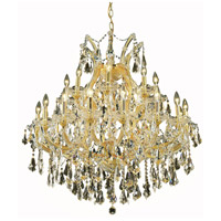 Elegant Lighting Maria Theresa 24 Light Dining Chandelier in Gold with Royal Cut Golden Teak Crystal 2801D36G-GT/RC