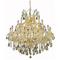 Elegant Lighting 2801D36G-GT/RC Maria Theresa 24 Light 36 inch Gold Dining Chandelier Ceiling Light in Golden Teak Royal Cut