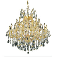 Elegant Lighting Maria Theresa 24 Light Dining Chandelier in Gold with Royal Cut Clear Crystal 2801D36G/RC