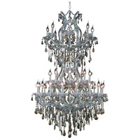 Maria Theresa 34 Light 36 inch Silver and Clear Mirror Dining Chandelier Ceiling Light in Golden Teak, Swarovski Strass