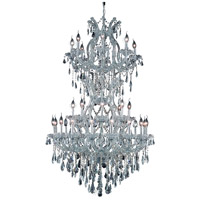 Elegant Lighting Maria Theresa 34 Light Dining Chandelier in Silver and Clear Mirror with Swarovski Strass Clear Crystal 2801D36SC/SS